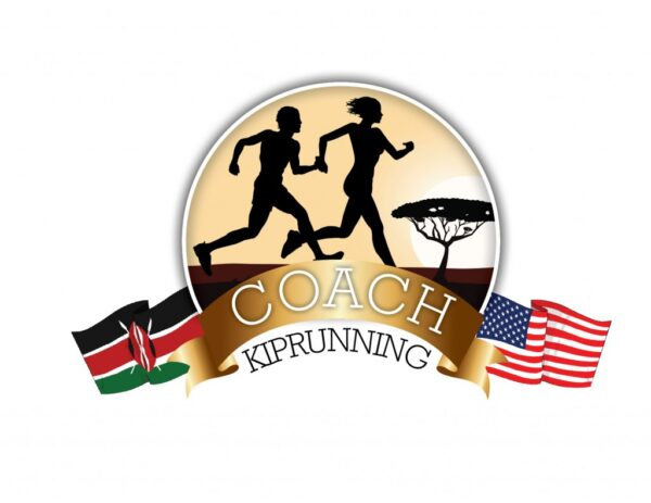 Two runners jogging, Kenyan flag on the left, American flag on the right