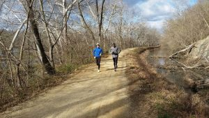 The Kiprunning Sports Club jogging on the C&O Canal